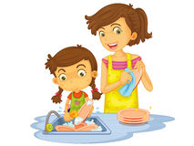 Washing dishes. Illustration of mother and daughter washing dishes stock illustration