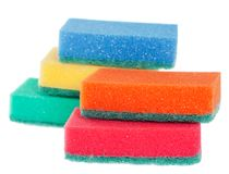 Washing dishes sponges Royalty Free Stock Images