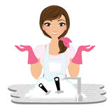 Washing dishes woman Royalty Free Stock Photography