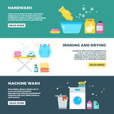 Washing and drying clothes, laundry service vector advertising banner vector illustration