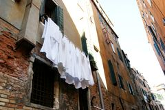 Washing and drying clothes in venice royalty free stock photography