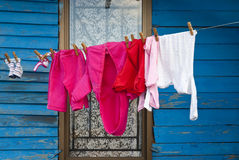 Washing drying in front of shack Royalty Free Stock Photo