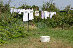 Washing. Drying on a line Royalty Free Stock Photo