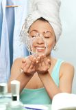 Washing the face Royalty Free Stock Photo