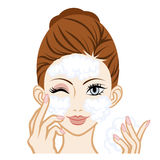 Washing Face -Facial Close-up.  Stock Photography