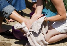 Washing Feet Royalty Free Stock Photography