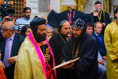 Washing of the Feet ceremony, in the Syrian Orthodox St. Marks c stock image