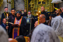 Washing of the Feet ceremony, in the Syrian Orthodox St. Marks c Stock Photography