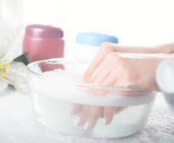 Washing of a female hands Royalty Free Stock Photography