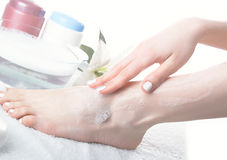 Washing of a female leg Royalty Free Stock Photos