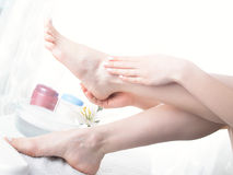Washing of a female leg Royalty Free Stock Photography