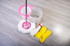 Washing floors, cleaning the apartment Stock Photos