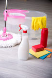 Washing floors, cleaning the apartment Royalty Free Stock Photo