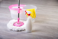 Washing floors, cleaning the apartment Royalty Free Stock Photos