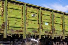 washing of freight wagons Stock Image