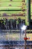 washing of freight wagons Royalty Free Stock Photo