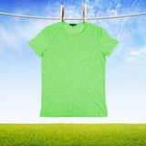 Washing green tshir Royalty Free Stock Photography