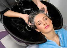 Washing hair Royalty Free Stock Photo