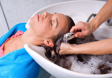 Washing hair Royalty Free Stock Photos