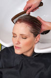 Washing hair Royalty Free Stock Image