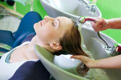 Washing hair Royalty Free Stock Photography