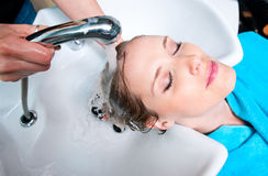 Washing hair Stock Photos