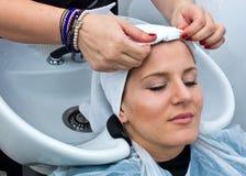Washing hair Royalty Free Stock Image