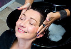 Washing hair and massage Royalty Free Stock Photography