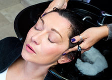 Washing hair and massage Royalty Free Stock Photos