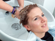 Washing hair in salon Royalty Free Stock Photo
