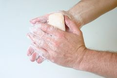 Washing hands. Soap and hands Stock Image