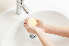 Washing of hands in bathroom Royalty Free Stock Image