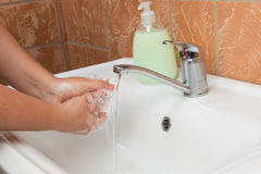 Washing Hands. Cleaning Hands Stock Image