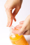 Washing hands - with clipping path. Female hands squeezing hand soap Royalty Free Stock Images