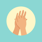 Washing hands between fingers round vector Illustration. On a light blue background Stock Images