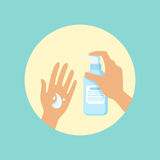 Washing hands with liquid soap round vector Illustration. On a light blue background royalty free illustration