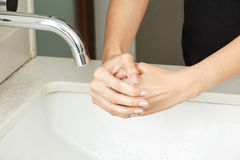 Washing hands with soap. For cleansing royalty free stock photo