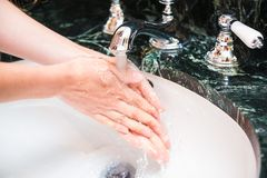 Washing hands with soap. Hygiene and cleanliness theme.  stock images