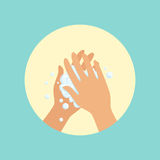 Washing hands with soap palm to palm round vector Illustration. On a light blue background Stock Image