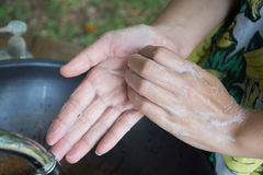Washing of hands with soap under running water Royalty Free Stock Image
