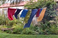 Washing hanging on clothesline Stock Images