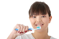 Washing her teeth Stock Image