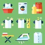 Washing icons. Vector set of laundry, clothes washing and ironing icons. Flat style royalty free illustration