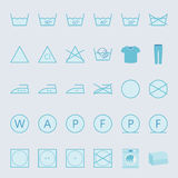 Washing and ironing clothes color flat icon set Stock Images