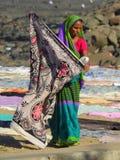 Washing laundry near Chuim village Bandra Stock Photo