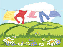 Washing line. A hand drawn illustration of a washing line in summer with flowers and hills in the background Stock Images