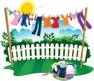 Washing line and clothes Stock Image