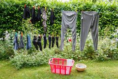 Washing line with clothes Royalty Free Stock Image