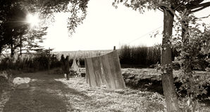 Washing line in countryside Royalty Free Stock Photo