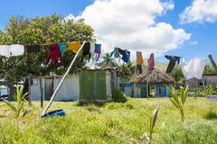 Washing on line in Fiji Stock Photo